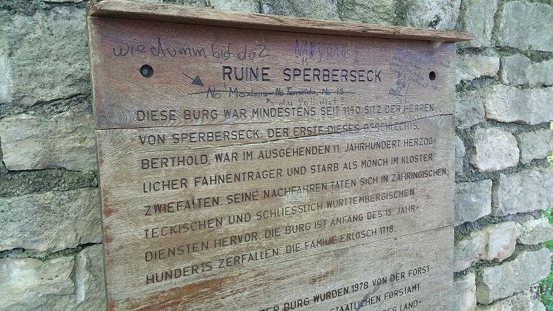 Infrmationstafel - Ruine Sperberseck
